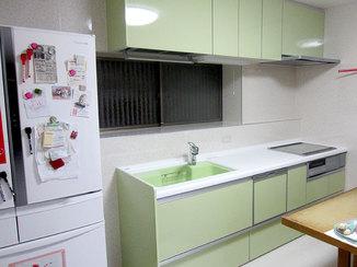 キッチンリフォーム 食洗器や吊戸の収納力を上げ、使い勝手をよくしたキッチンリフォーム